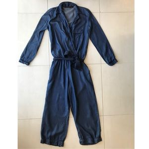 Zara Trafaluc Chambray Pockets Jumpsuits